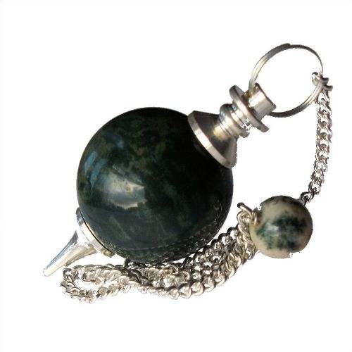 Green Moss Agate Ball Dowsing Pendulum